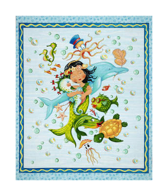 "QT Fabrics Mermaid Merriment Mermaid 36"" Panel Blue"