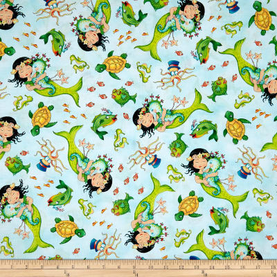 QT Fabrics Mermaid Merriment Tossed Mermaids & Sea Creatures Lt. Blue