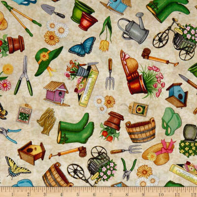QT Fabrics A Gardening We Grow Everything Gardening Dk. Cream