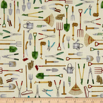 QT Fabrics A Gardening We Grow Gardening Tools Cream