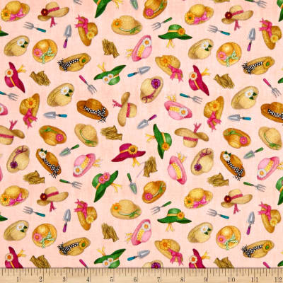 QT Fabrics A Gardening We Grow Garden Hats Lt. Coral