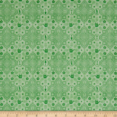 QT Fabrics A Gardening We Grow Garden Damask Lt. Green