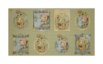 "QT Fabrics Adrift Picture Patch 24"" Panel Lt. Sage"