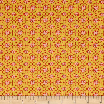 QT Fabrics All A Flutter Quatrefoil Yellow