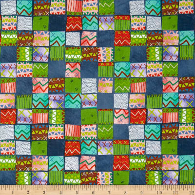 QT Fabrics Alpaca Picnic Blanket Patches Navy