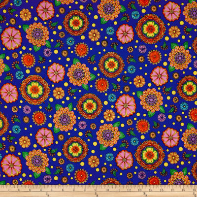 QT Fabrics Carnivale Large Flowers Royal