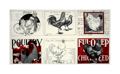 """QT Fabrics Fowl Play Poultry Farm 24"""" Panel Off White"""