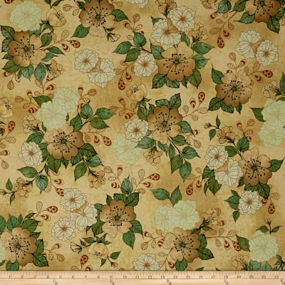 QT Fabrics Manor House Floral Taupe