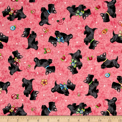 QT Fabrics Mary's Journey Scotties Light Red