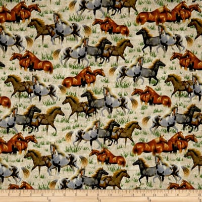 QT Fabrics  Round 'Em Up Running Horses Cream