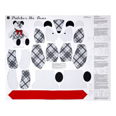 "QT Fabrics Sew N Go IV Patches The Teddy Bear Craft 36"" Panel Grey"