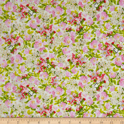 QT Fabrics Songs Of Nature Packed Dogwood Cream