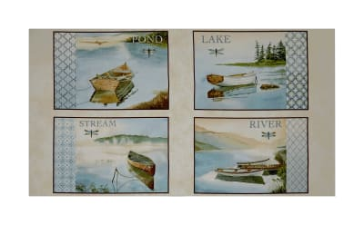 "QT Fabrics Tranquility Water Scenic Picture Patches 24"" Panel Cream"