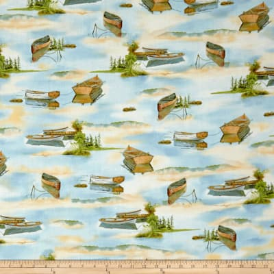 QT Fabrics  Tranquility Boats On Water Blue