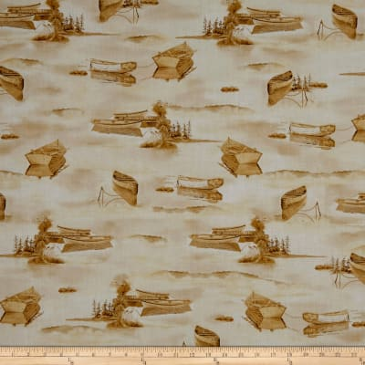 QT Fabrics Tranquility Boats On Water Tan