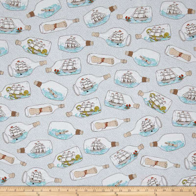 QT Fabrics In Deep Ship Ships In Bottles White