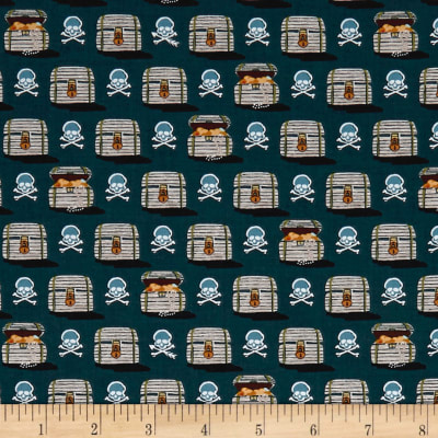 QT Fabrics  In Deep Ship Treasure Chests & Skulls Dk. Ocean