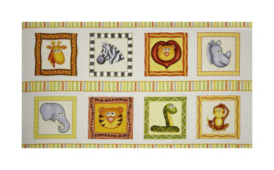 "QT Fabrics  Jungle Buddies Animal Picture Patches 24"" Panel Cream"