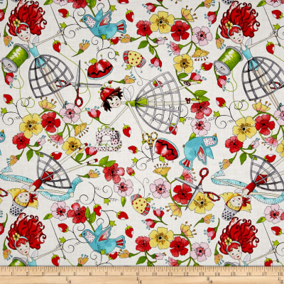 QT Fabrics The Quilted Cottage Tossed Sewing Fairies Cream