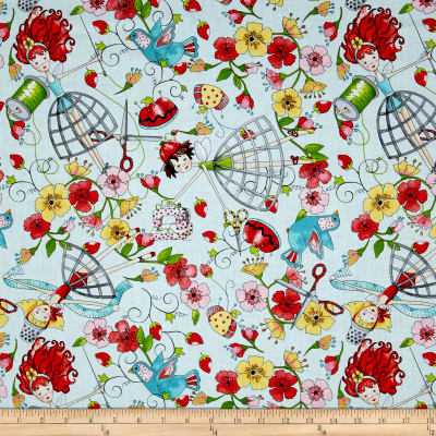 QT Fabrics The Quilted Cottage Tossed Sewing Fairies Light Turquoise