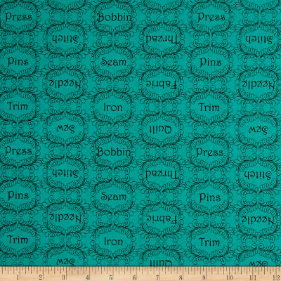 QT Fabrics  The Quilted Cottage Sewing Words Dark Turquoise