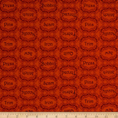 QT Fabrics  The Quilted Cottage Sewing Words Red