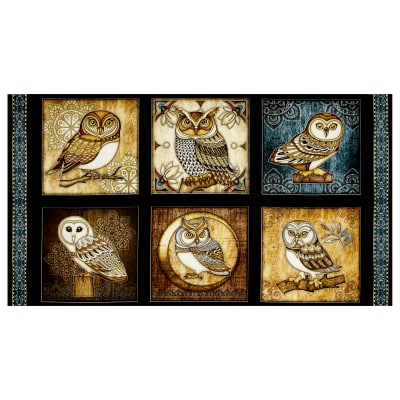 "Where The Wise Thing Owl Picture Patches 24"" Panel Black"