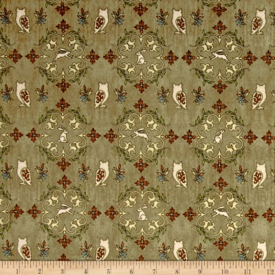 QT Fabrics Where The Wise Thing Owl Medallions Tan