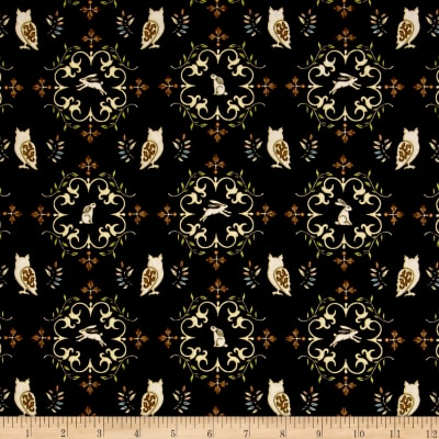 QT Fabrics Where The Wise Thing Owl Medallions Black