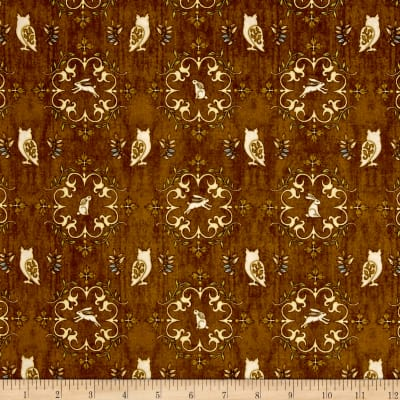 QT Fabrics Where The Wise Thing Owl Medallions Dk. Rust