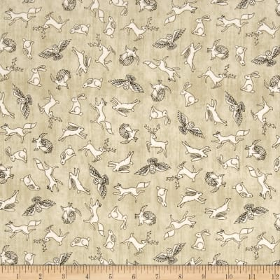 QT Fabrics Where The Wise Thing Mini Animal Toss Dark Cream