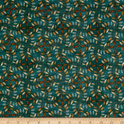 QT Fabrics Where The Wise Thing Leaf Geo Teal