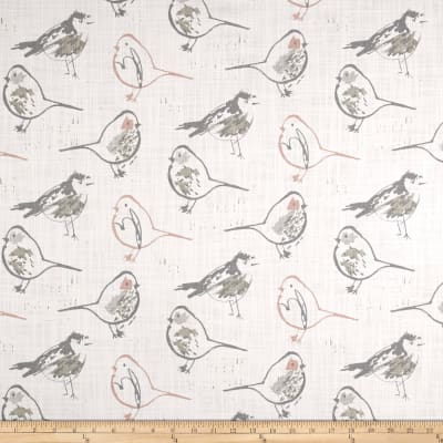 Premier Prints Bird Toile Slub Canvas Blush