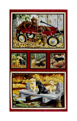 "QT Fabrics Labrador Able Labrador Picture Patch 24"" Panel Multi"