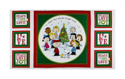 "QT Fabrics Peanuts Peace*Love*Joy Peace Love Joy Caroler 24"" Panel White"