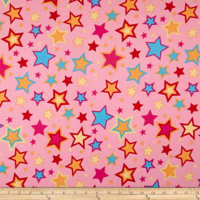Double Brushed Jersey Knit Multi Stars on Bubblegum Pink