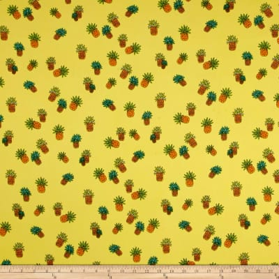Double Brushed Jersey Knit Pineapples on Bright Yellow