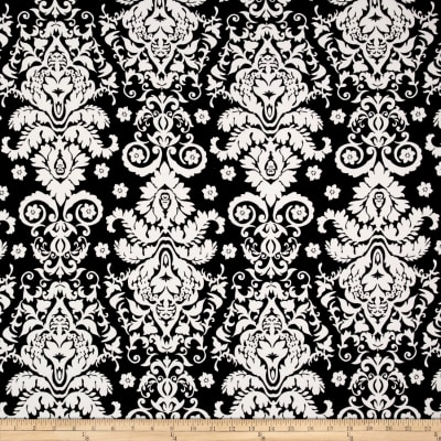 Double Brushed Jersey Knit Damask Floral Ivory/Black