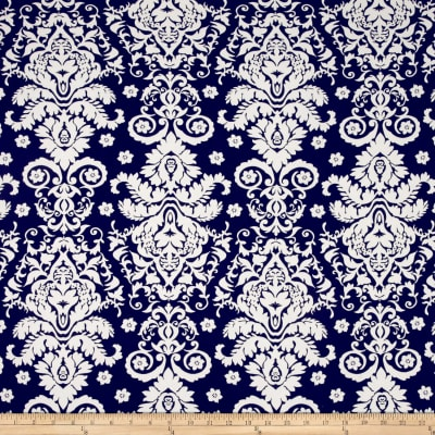 Double Brushed Jersey Knit Damask Floral Ivory/Navy