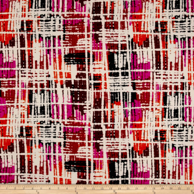 Double Brushed Jersey Knit Abstract Stripes Rust/Fuschia
