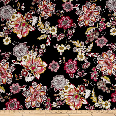 Double Brushed Jersey Knit Retro Floral Black/Wine