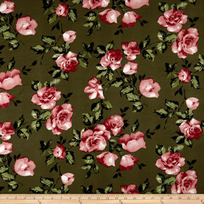Double Brushed Jersey Knit English Roses Pink/Olive