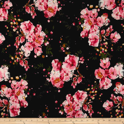 Double Brushed Jersey Knit English Floral Pink on Black