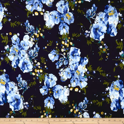 Double Brushed Jersey Knit English Floral Light Blue on Navy