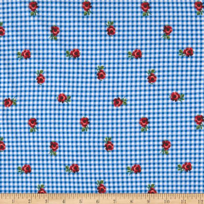 Double Brushed Jersey Knit Plaid and Roses Light Blue