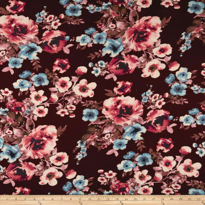 Double Brushed Jersey Knit Floral Aqua/Plum