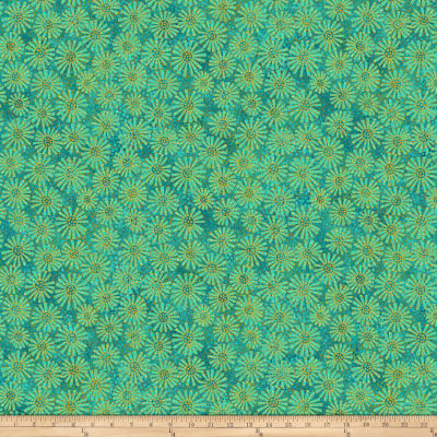 Shimmer Oasis Metallic Flowers Green