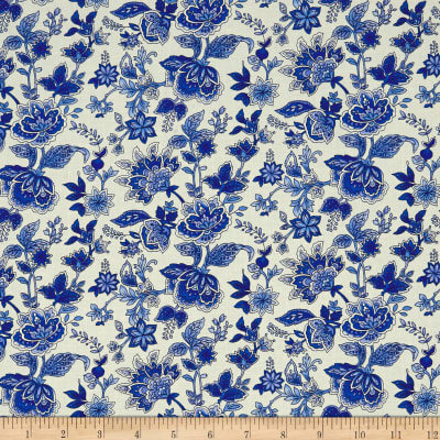 Peacocks In Blue Paisley Floral White/Blue