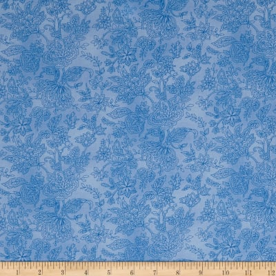 Peacocks In Blue Paisley Floral Blue