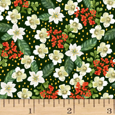 Noel Small Floral Metallic Green/Multi